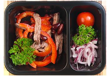 Салат Тбилиси с пряной говядиной и красной фасолью