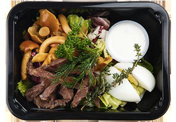 Салат с маринованными опятами и говяжьим языком