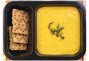 Гороховый крем-суп с ржаными хлебцами