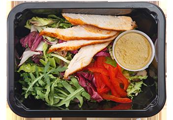 Салат с копченой курицей и медово-горчичной заправкой
