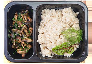Ячневая каша с грибами и зеленью